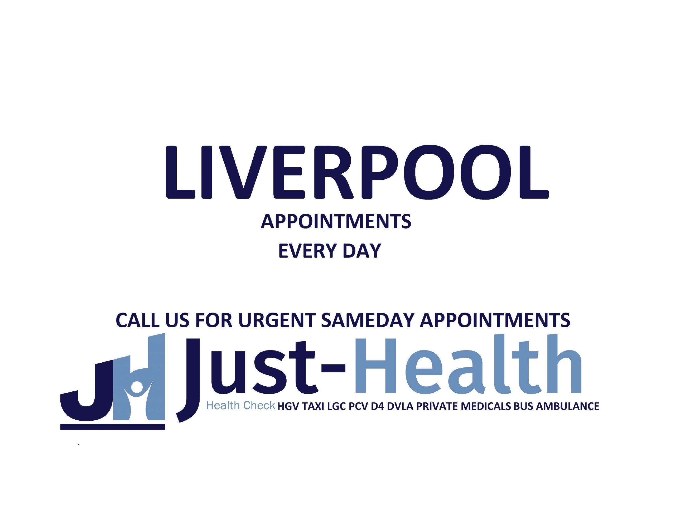 d4 PSV LGV Taxi Pcv HGV medical just health clinic Liverpool merseyside docks birkenhead wallasey wirral