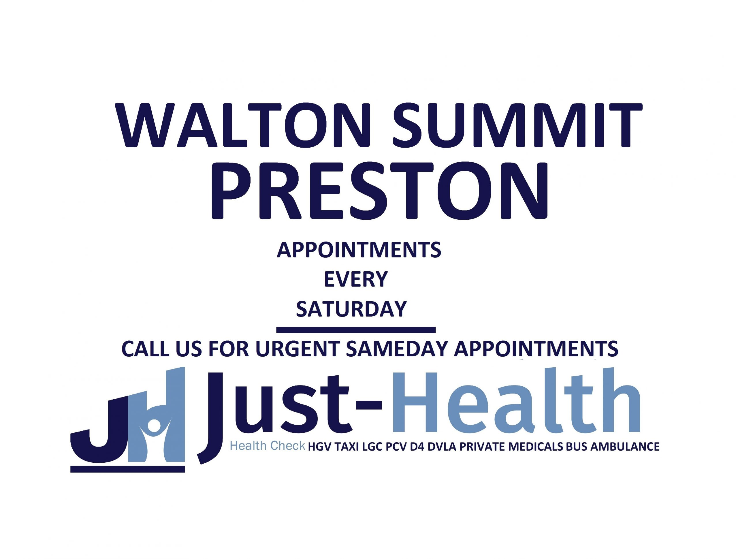d4 PSV LGV Taxi Pcv HGV medical just health clinic walton summit preston lancashire