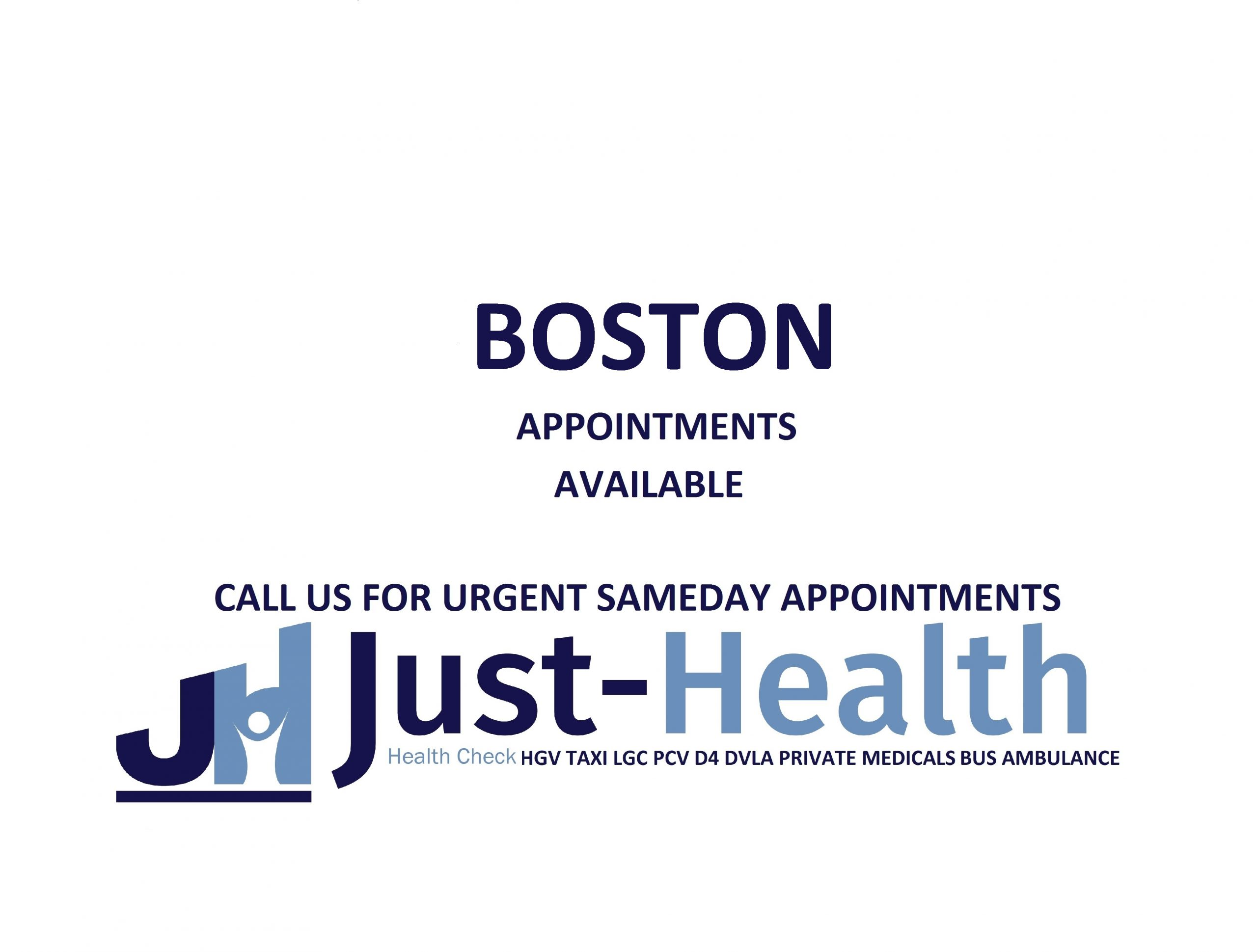 d4 PSV LGV Taxi Pcv HGV medical just health clinic boston