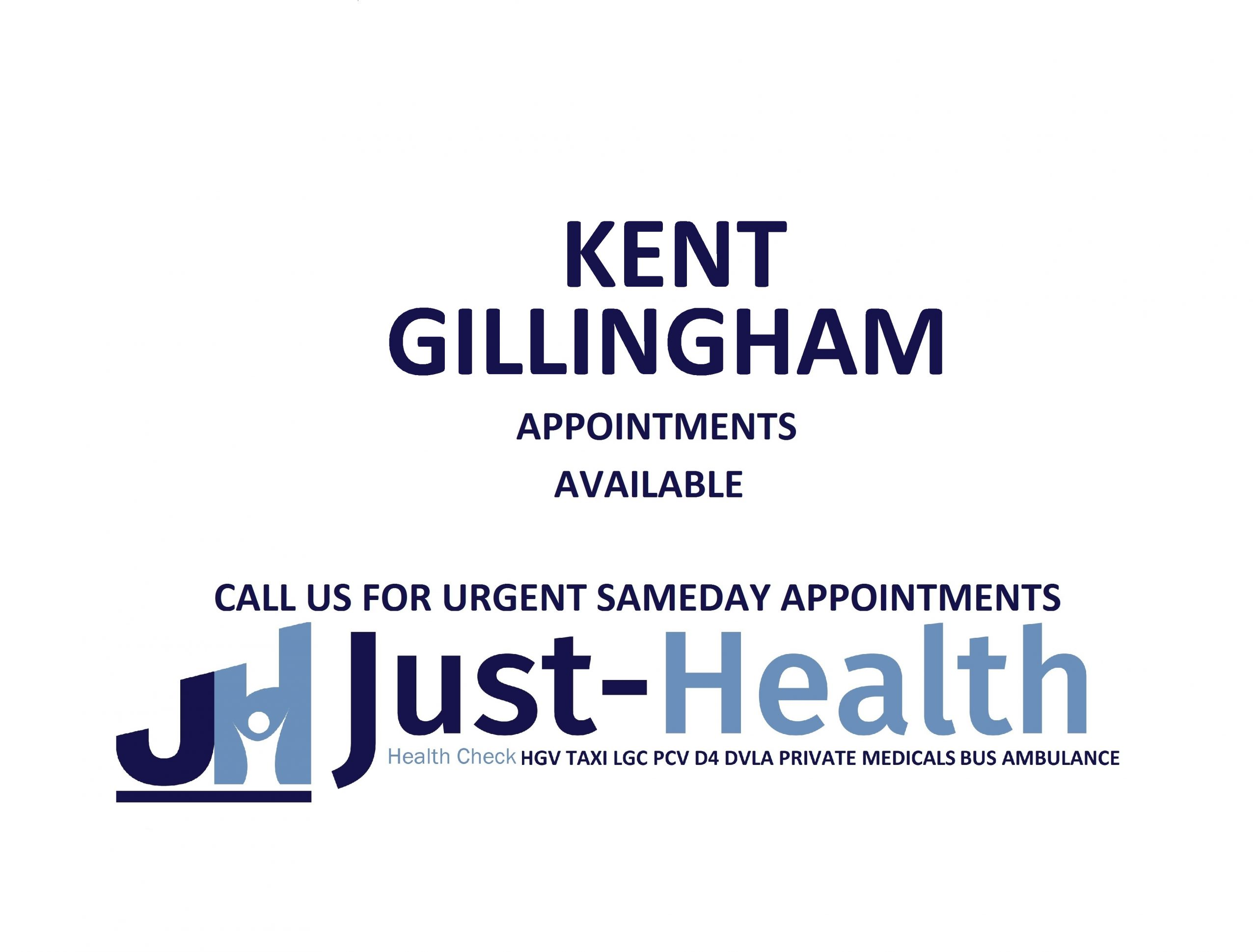 d4 PSV LGV Taxi Pcv HGV medical just health clinic kent gillingham london
