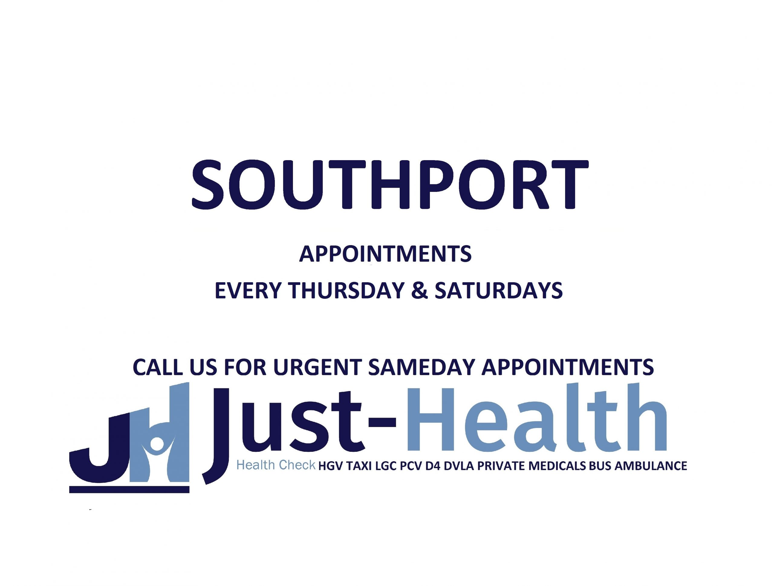d4 HGV PSV LGV Taxi Pcv medical just health clinic southport