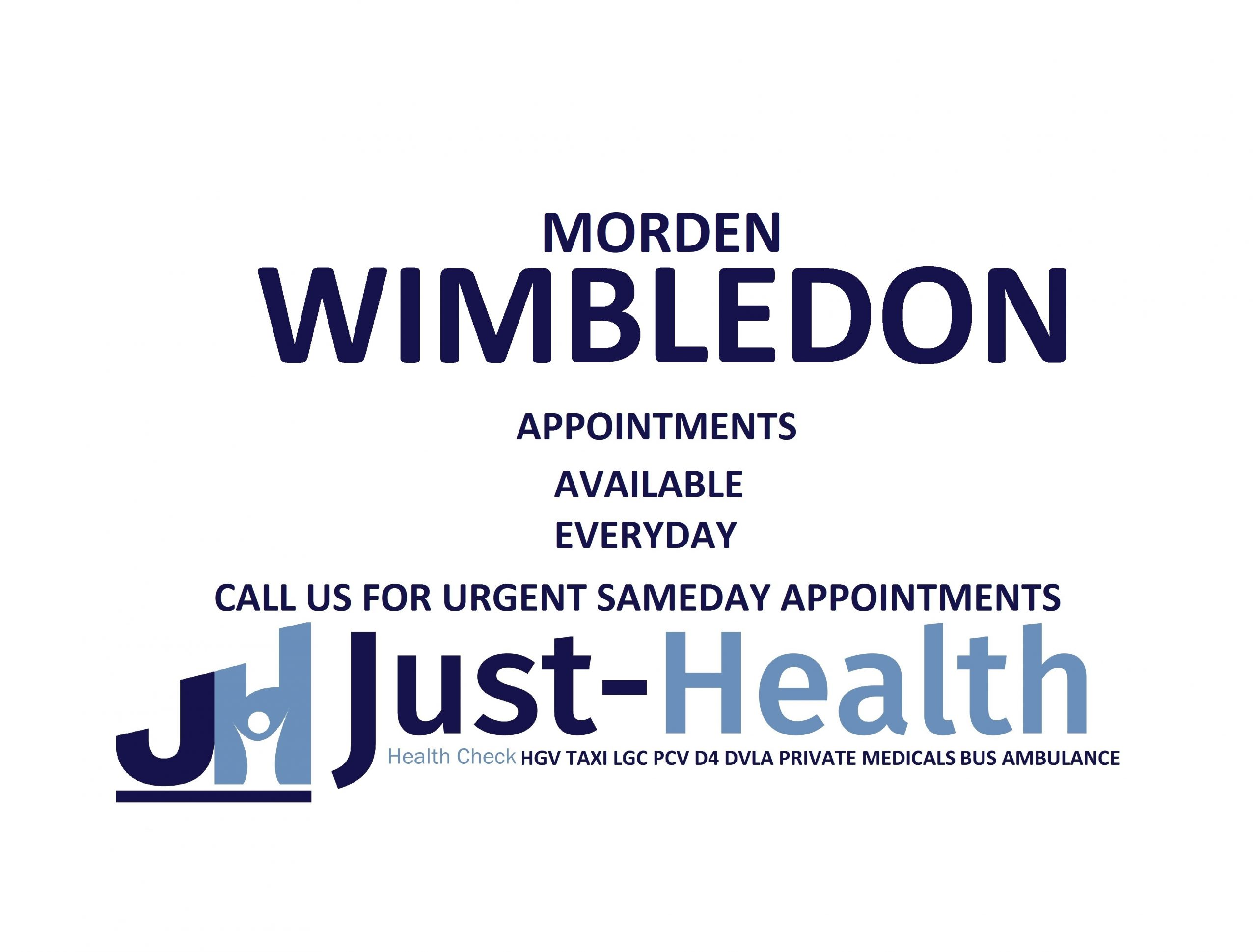 d4 HGV PSV LGV Taxi Pcv medical just health clinic wimbledon morden