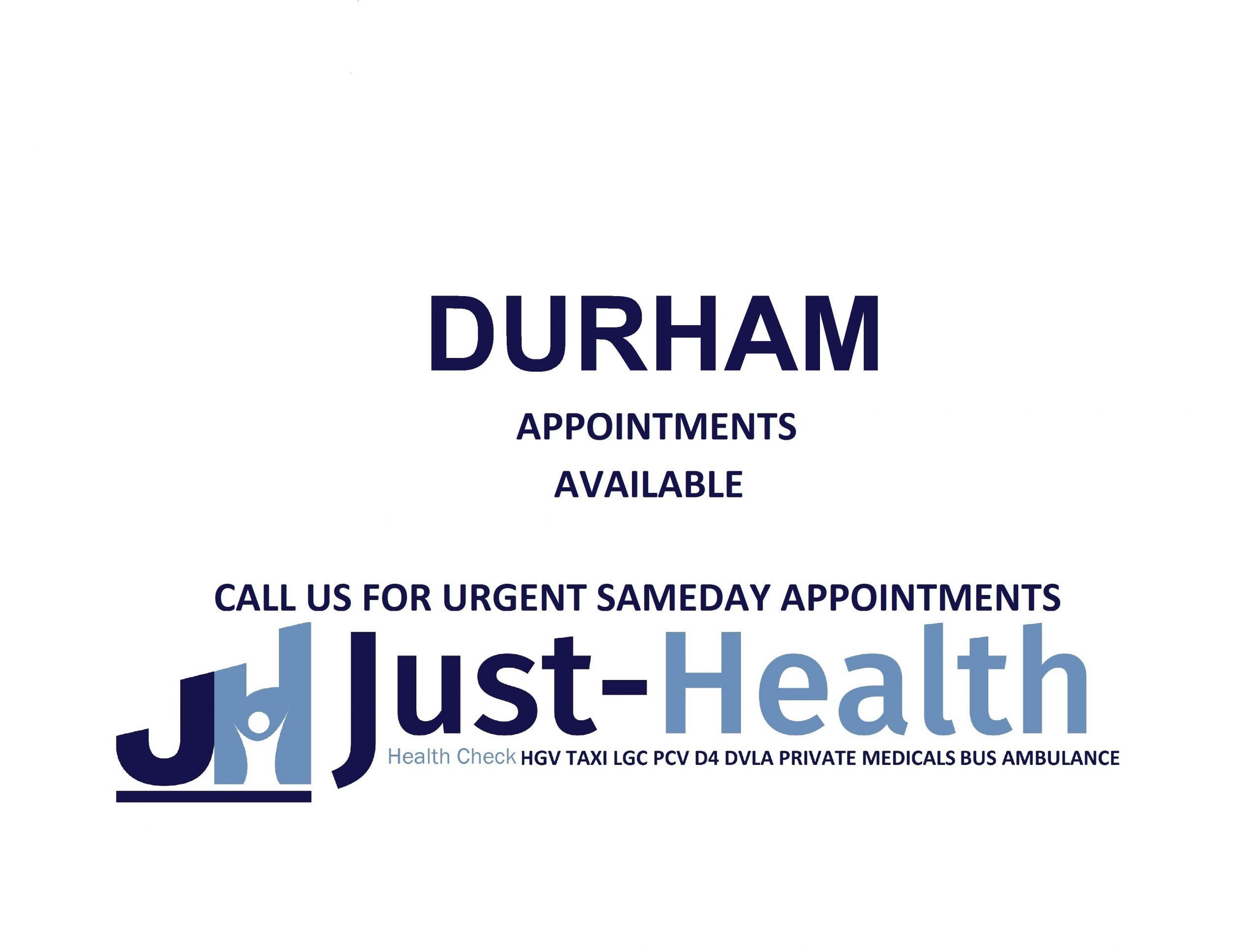 D4 Driver medicals hgv pcv c1 Durham